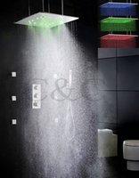 Le robinet de douche de salle de bains de thermostat a placé 20 pouces Deux fonctions d'atomisation et de pluie Pommeau de douche de LED et de jet de massage 009-20WL-F