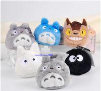 Conjunto de 6 pcs meu vizinho totoro mini pingentes de pelúcia brinquedos Totoro gato ônibus kurosuke feijões cheios de pelúcia