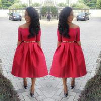 Vestidos de noche rojos de la longitud del té de la moda 2015 con la faja del oro del hombro medias mangas Vestidos de los acontecimientos formales Vestidos del baile de fin de curso asequibles
