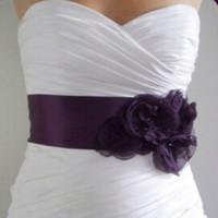 País vintage nupcial sash uva púrpura flores hechas a mano cuentas corbata amarre ajustable vestido de boda correa novias accessios