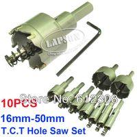 10PS / Lot Staal Houtcarbide Tip Boor T.C.T Metalen Cutter Snijgatzaag Set Roestvrij Holesaw 20mm 25mm 30mm 40mm 50mm
