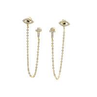 top quality unique design factory wholesale cz CROSS evil eye charm dainty dangle chain double hole 925 silver stud earring