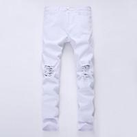Mens Black Jeans Skinny Ripped Détruite stretch Slim Fit Hop Hop Pantalon avec trous pour les hommes 27-38