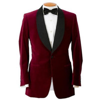 Bordeaux Custom Slim Fit Mens Costume d'affaires Veste + Pantalon + Arc Beau Costumes Hommes Printemps 2018 Vente Chaude Costumes De Mariage Marié Ebelz Custom