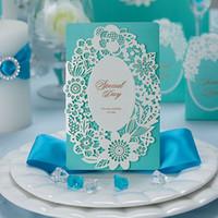 Tarjetas de invitaciones de boda personalizadas 3D Tridimensional Special Gold Hollow Out Tower Design CW059 Chinese Mejor Fiesta Invitaciones