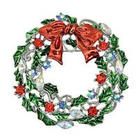 Nouvelle Arrivée Broches Broches De Mode Rouge Cristal Strass Feuille Bouquet Cercle Alliage De Noël De Mariage Cadeau Bijoux