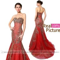100% REAL IMAGE Red Evening Dresses Long Formal Prom Gowns 2...