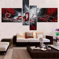 100% handmålad Phoenix totem oljemålning 4 st / set dekoration oljemålning abstrakt vägg bilder för vardagsrum inredning
