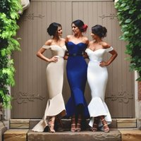 High Low Bridesmaids Dresses Off Shoulder Sleeveless Backles...