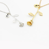 2154d0d20 26 Letter Personalized Name Jewelry Rose Engrave Letter Discs Choker  Monogram Flower Custom Necklace Pendant for Trendy Woman