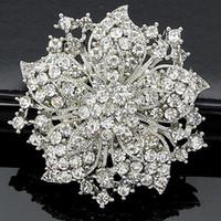 Vintage Çiçek Temizle Rhinestone Kristaller Kadınlar Sıcak Satış Broş Zarif 2015 Yeni Moda Parti Kostüm Pins Broaches