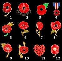 Fashion Royal British Legion Spilla Diamante Crystal Poppy Flower Spilla Pins Regalo di Natale Spilla Kate Drop Shipping