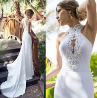 Robes de mariée blanches élégantes avec perles Perler à col haut Manches courtes Une ligne balayage train de haute qualité en mousseline de soie Vintage Robes de mariée