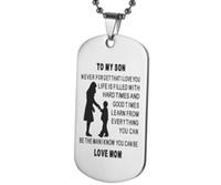 Mãe Para O Meu Filho Dog Tag Colar - Nunca Esqueça Eu Te Amo - Personalizado Personalizado Tag De Cão Militar Pingente de Presente
