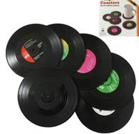 Moda Sıcak 6 Adet / takım Ev Masa Fincan Mat Yaratıcı Dekor Kahve İçecek Placemat İplik Retro Vinil CD Kayıt İçecekler Bardak