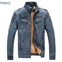 Wholesale- FGKKS New Winter Fashion PU Leather Jacket Men Bl...