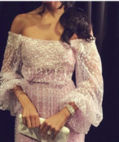 2015 Abendkleider Sexy Sheer Polka Dot Tüll Mantel Schulterfrei Lange Ärmel Pailletten Perlen Bodenlangen Abendkleider