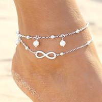 Sexy Summer Beach Perle Bracelet Cheville Argent Plaqué Imitation Perles Sandales Aux Pieds Nus Bracelets De cheville Pie Leg Chain Femelle Boho Bijoux