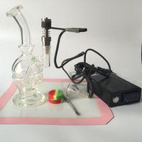 Su boruları cam bongs + E tırnak D Tırnak Dnail Elektronik Sıcaklık Kontrol Kutusu Ti Ile DIY Içen Için tırnak Cam Bong