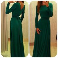 2016 collo alto vestido modesto dubai caftano abaya abiti da sera in pizzo con fusciacca maniche lunghe verde a-line abiti da festa formale d038