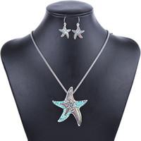 MS1504253 Moda Conjuntos de Jóias de Alta Qualidade Banhado A Ouro Beads Multicolor Starfish Projeto Colar de Mulher Conjunto de Jóias de Casamento