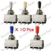 10 шт хром пикап 3 Способ тумблер селектор для электрогитары (5 цветов наконечник)