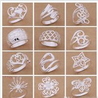 Смешанный заказ 24 шт. / лот 925 посеребренные кольца ювелирные изделия партии стиль высокое качество Рождественский подарок бесплатная доставка 1766