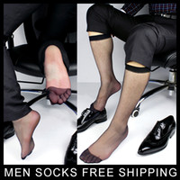 Men' s Ultra Sheer Black Dress Socks Long Hose Visual Ma...