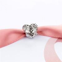 Feather Heart Charm Bead Fashion Donne Gioielli Stunning Design Stile Europeo Adatta per Braccialetto Pan Bangle