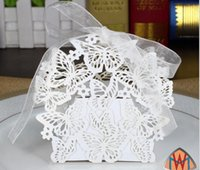 Type_2 100pcs Laser Cut Hollow Butterfly Ribbon Wedding Party Baby Shower Favor Gift Ribbon Candy Box Boxes