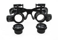 5-25 4 가지 다중 듀얼 헤드 장착형 고글, LED 조명 기능이있는 안경 타입 돋보기, 안경 확대를위한 견학