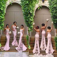 Novo Designer Rosa Sexy Barato Sereia Vestidos Dama de Honra Spaghetti Correias Lace Appliques Backless Wedding Guest Guest Doméstica dos Vestidos de Honra