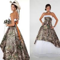 Abiti da sposa senza spalline Camo senza spalline Vestidos de Novia Camouflage Ball Gown Foresta Abito da sposa Ultimo design economici Abito da sera