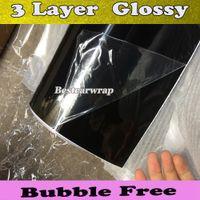 Högglanspiano Black Wrap med 3 lager Beläggning för bilomslag / taköverdrag Luftbubbla Free Vehicle Wrap Storlek: 1,52 * 30m / Roll 5x98ft