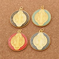 Enamel Catholicism Charm Benedict Medal Cross Crucifix 4Colors Gold Plated Spacer Beads Pendants T1668 20pcs lot 35.5x31.5mm Jewelry Findings Components