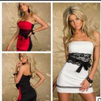 Weiß rot Spitze Keine Ärmel Sexy Dessous, M L XL Frauen keine Ärmel Clubwear Kleid Club Kleid Schmaler Rock mit Gürtel