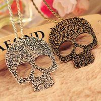 Винтаж готический резные цветы череп скелет кулон ожерелье, свитер Ceative дизайн длинное ожерелье цепь для девочек X2143
