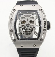2015 nuovo arrivo di qualità Man orologio sportivo di vendita superiore guarda l'orologio meccanico scheletro quadrante cinturino in caucciù nero 019