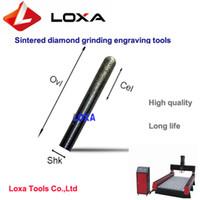 LOXA yüksek kalite Sinterlenmiş elmas taşlama gravür aracı, CNC taş oyma uçları, F-serisi Konik topu kafa Matkap ucu