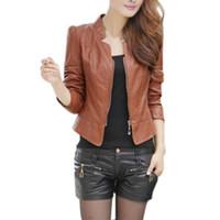 여성용 재킷 도매 - 여자 여자 섹시한 겨울 슬림 바이커 오토바이 PU 가죽 자켓 지퍼 코트