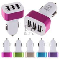 3 порта USB автомобильное зарядное устройство металлическое кольцо 5 В 5.1A универсальный красочный адаптер для iphone 6 6 s Samsung Note 4 500 шт