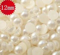 2015 venta caliente 1000 unids / paquete 12 mm suelta media perlas de acrílico lácteo Flatback perlas forma redonda espalda plana perlas cuentas
