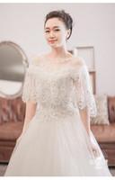 2018 Shrug Cape Stole Wrap Lace Crystal Bridal Prom Party Fiesta Boda Bolero en stock Tamaño regular Sparkly Shawl Mujeres Moda elegante