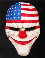 Halloween mascarade Cosplay nouveau jour de paie 2 dallas US drapeau national masque Heist joker costume de clown adulte partie masque de tête