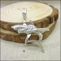 الشحن مجانا! 30 قطع أثرية فضية سحر القرش قلادة صالح أساور قلادة صنع المجوهرات المعدنية ديي