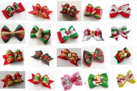 100pcs Factory Sale Christmas Pet Dog Hair Bows bowknot hair...