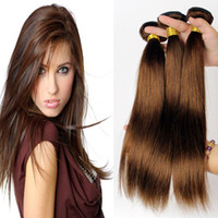 Brazilian Virgin Hair Straight 3pc Medium Brown Color 4# Bra...
