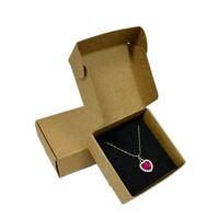 50pcs fatti a mano anello orecchini ciondolo organizzatore scatola regalo fai da te piccolo sapone scatola di carta kraft sapone con inserto nero 7.5 * 7.5 * 3 cm