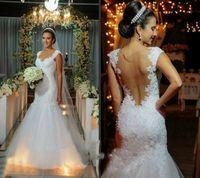 Классические белые роскошные кружевные русалки свадебные платья Inbal Dror Sexy Backbloet Bridal Plass Appliques Бисером Часовня Поезд Vestidos de Novia