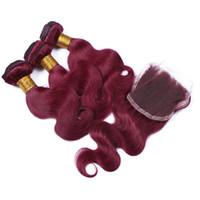 Beliebte Burgund Farbe 99J Haar 3bundles Mit Spitze Schließung 4x4 Weinrot Körperwelle Brasilianisches Reines Haar Einschlag Mit Verschluss